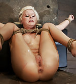 Roped, feet caned and vibed to orgasm