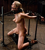 Hot blonde bound and trapped on sybian