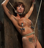 Bound and stripped, nipples clamped, tortured with weight