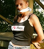 Hottie tied and cleave-gagged outside