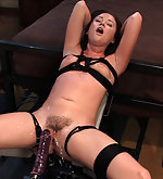 Tightly roped and fucked with machines