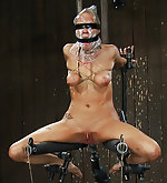 Cuffed with bound tits, clamped and machine fucked