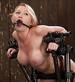 Bound in standing doggy position & machine fucked hard