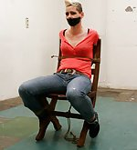 Angela chair-tied, tape-gagged, tit-grabbed