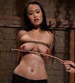 Stripped, roped, clamped, whipped and fucked