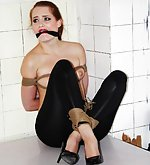 Denisa tightly roped and cleave-gagged