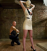 Two latex sluts spanked, fixed and trained