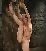 Roped in uncomfortable position, caned and vibed