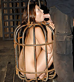 Kidnapped, caged, cuffed and trained to suck