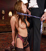 Busty asian purchased as sex slave in bondage scene