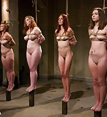 Six naked girls are roped and humiliatingly tested