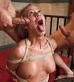 Milf in rough bondage sex, double penetration fantasy