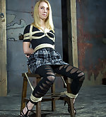 Roped to the chair, tightly gagged and vibed