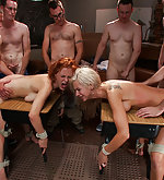 Two lesbian beauties stripped, bound and gangbanged