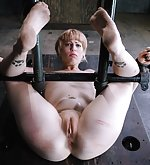 Cuffed in strappado, ass hooked, tortured and teased