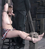 Redhead gets roped, suspended, vibed and used