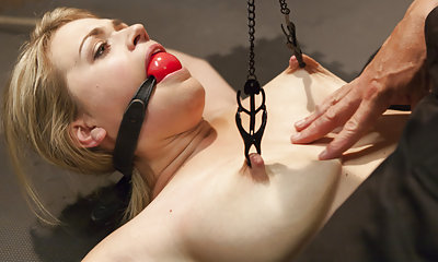 Busty blond gets gagged, tied down, stripped and molested