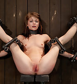Cutie is made to cum in stressful bondage