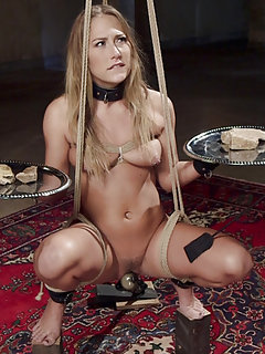 All natural blonde beauty fucked in hard predicament bondage