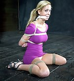 Beauty gets roped and fucked by tied gimp