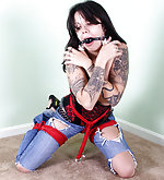 Frogtied, crotchroped, ball-gagged, trapped