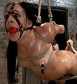 Greedy slut exposed in tight and inescapable rope bondage