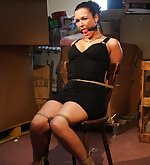 Vixen chair-tied, ball-gagged, nipple-clamped
