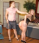 Harmony spanked with a large wooden ruler