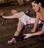 Cuffed to the floor, tortured and teased with electricity