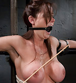 Christina bound to a metal chair and fucked by machine
