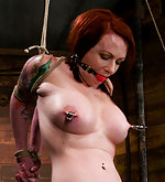 Stripped, roped, hogtied, pegged and suspended