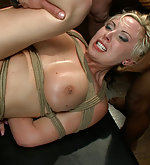 Sexy lawyer gets a group sex in bondage