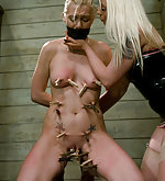 Samantha roped, pegged and strapon fucked
