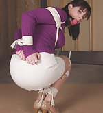 High heels, rope bondage, big ball gag