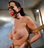 Cindy on a string bound, harness ball-gagged, nipple-clamped