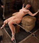 Tight ropes, brutal cunt flogging, nipple torment & finger fucking