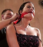 Nicole gets tied up, cleave-gagged, clothes stripped, tit-grabbed
