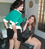 Kay blackmails and spanks her lesbian lover