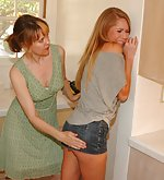 Naughty cute girl spanked by strict woman