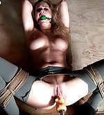 Ally bound, ball-gagged, whipped, stripped, machine-fucked