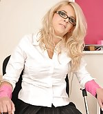 Blond secretary gets tied to the chair and ball-gagged