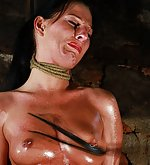 Cutie gets strangled and lashed on her oiled skin