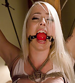 Pretty blonde roped, ball-gagged and dildoed