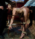 Manhandled and humiliated, tied up and fucked in every hole